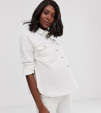 Asos DESIGN Maternity denim relaxed shirt in white