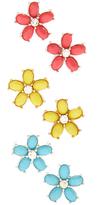 Carole Bright-Tone & Goldtone Flower Stud Earrings Set