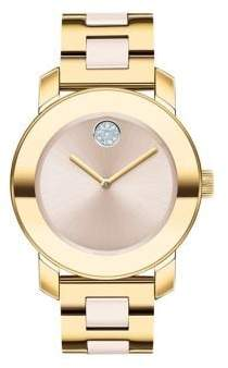 Movado Bold Yellow Gold Ion-Plated, Stainless Steel & Ceramic Bracelet Watch