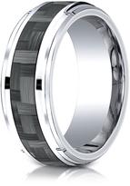 Ice Cobalt 9mm Comfort-Fit Drop Beveled Edge Grey Carbon Fiber Design Ring