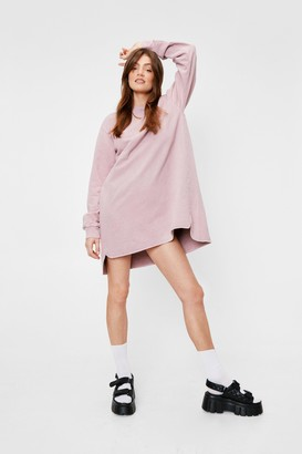 Nasty Gal Womens Bend Over-sized Backwards Sweatshirt Dress - Pink - 4