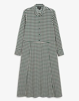 Monki Ada gingham print midi shirt dress in green