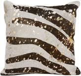 Le-Coterie Zebra Hide Pillow, Br/Be/Gold