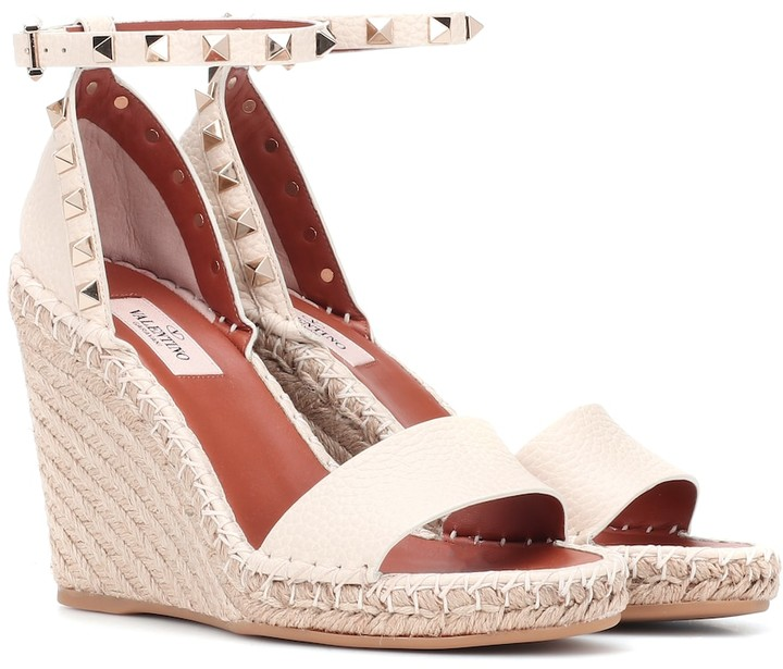 2eccdcb157b Rockstud Double leather wedge espadrilles