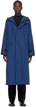 Kassl Editions Blue Taffeta Long Hooded Coat