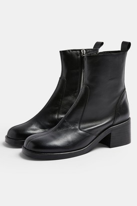 Topshop Womens Mother Black Round Toe Leather Boots - Black
