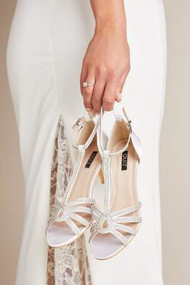 Quiz Bridal Ivory Satin Diamante T-Bar Heeled Sandals