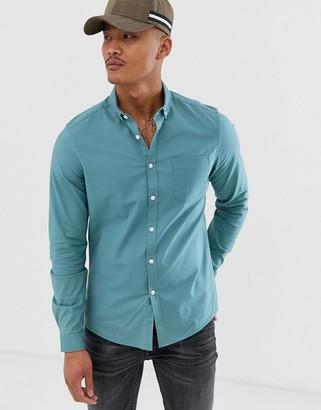 Asos Design DESIGN stretch slim casual oxford shirt in teal green