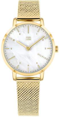 Tommy Hilfiger Mother of Pearl Dial Gold Stainless Steel Mesh Strap Ladies Watch