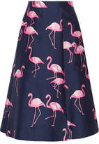 Draper James Printed Silk And Cotton-blend Midi Skirt - Navy