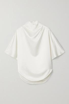 Petar Petrov Coral Draped Silk-blend Satin Blouse - Ivory