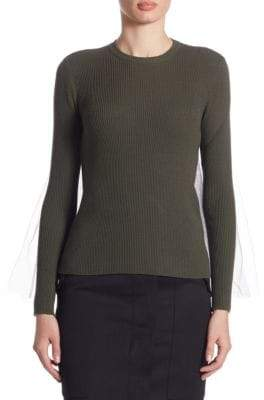Moschino Wool Tulle Zip Pullover