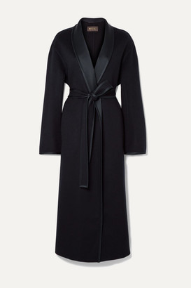 Loro Piana Belted Silk Satin-trimmed Cashmere Coat - Navy