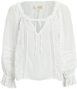 LoveShackFancy Odina Embroidered Cotton Blouse