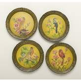 AA Importing 4 Piece Handpainted Bird Plate Set