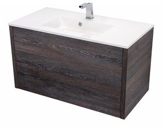 "Orren Ellis Mcnulty 36"" Wall-Mounted Single Bathroom Vanity Set Base Finish: Oak Chicago"