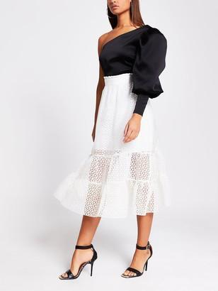River Island Broiderie Organza Midi Skirt - White