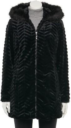 Details Women's Faux Fur Trimmed Hood Jacket