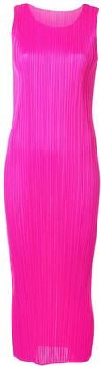 Pleats Please Issey Miyake Plisse Pink Tank Dress
