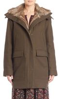 Joie Tibbie Rabbit Fur-Lined Cotton Twill Jacket