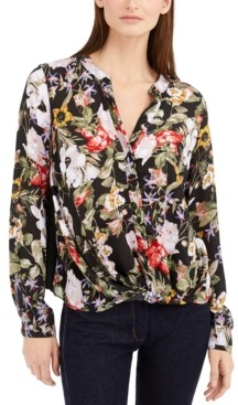 INC International Concepts Inc Twisted Floral-Print Blouse, Created for Macy's