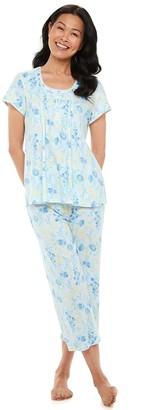 Miss Elaine Women's Essentials Soft Interlock Print Capri Pajama Set