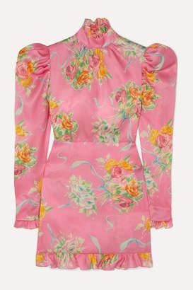 Alessandra Rich Ruffle-trimmed Floral-print Silk-organza Mini Dress - Pink