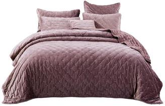 Tache Home Fashion Mauve Velvet Diamond Tuft Bedspread Quilt Set, King