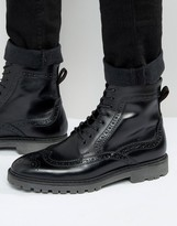 Asos Brogue Boots In Black Leather