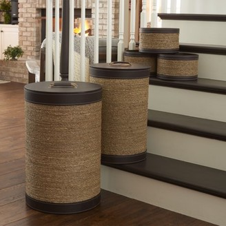 Household Essentials Seagrass and Faux Leather Hamper Set, 5pcs, Brown