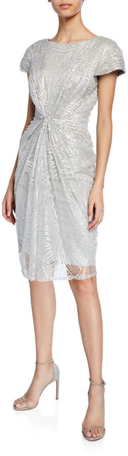 Tadashi Shoji Sequined-Lace Short-Sleeve Cocktail Dress