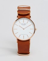 Reclaimed Vintage Inspired Leather Watch In Tan
