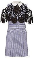 Self-Portrait Lace Overlay Pinstripe Dress