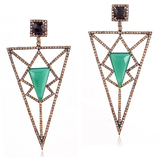 Green Onyx and Champagne Diamonds Pyramid Earring
