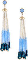 Lydell NYC Multihued Beaded Tassel Earrings, Light Blue