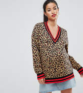 Asos Jumper In Leopard Pattern With Sports Tipping