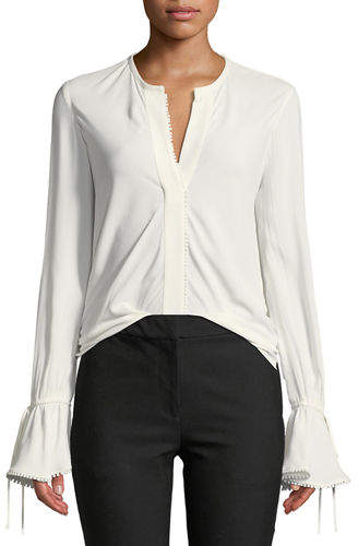 Derek Lam 10 Crosby Bell-Sleeves Button-Down Blouse with Scalloped Trim