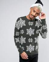 Asos Holidays Sweater With Snowflakes In Lambswool Yarn
