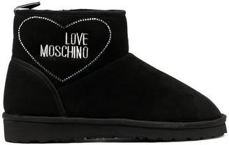 Love Moschino Rhinestone Logo Ankle Boots