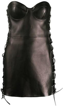Versace Lace-Up Short Dress