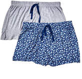 Rene Rofe Women's Sleep Bottoms ASSTFASH - Gray & Blue Floral Happy Couple Pajama Shorts Set - Women