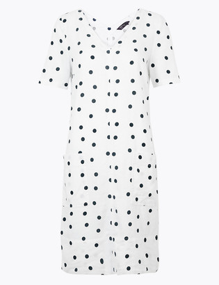 Marks and Spencer PETITE Linen Polka Dot Shift Dress