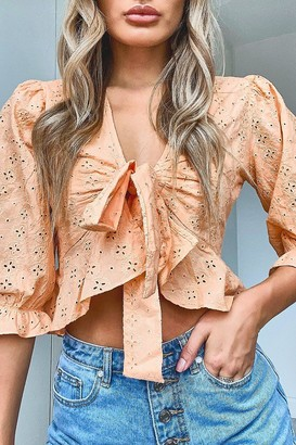 boohoo Broderie Tie Front Ruffle Detail Top