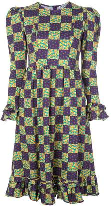 Batsheva geometric print ruffled dress