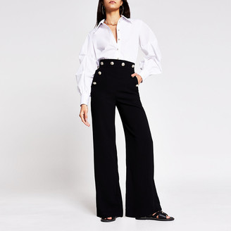 River Island Black button detail wide leg trouser