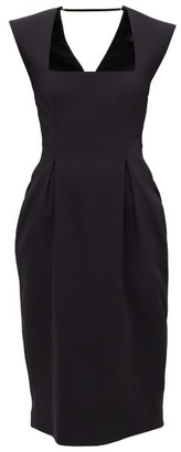 Versace Square-neck Pleated Crepe Midi Dress - Womens - Black