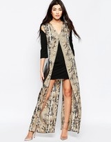 Liquorish Shift Dress With Printed Maxi Overlay In Snake Block Print