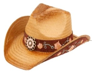 Epoch Hats Company Angela & William Cowboy Hat with Floral Trim Band and Stud