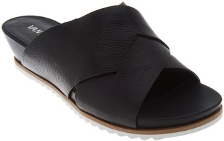 VANELi Leather Cross Band Low Wedge Slides - Hilde