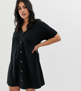 Asos DESIGN Curve mini slub button through swing dress